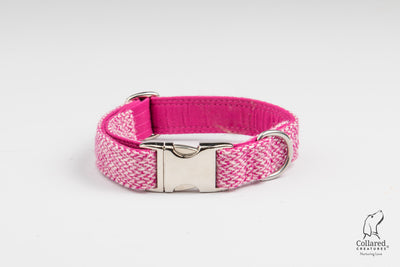 Harris-tweed-magenta-fleck-dog-collar