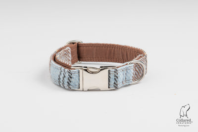 Baby blue & Brown Check Harris Tweed  Dog Collar