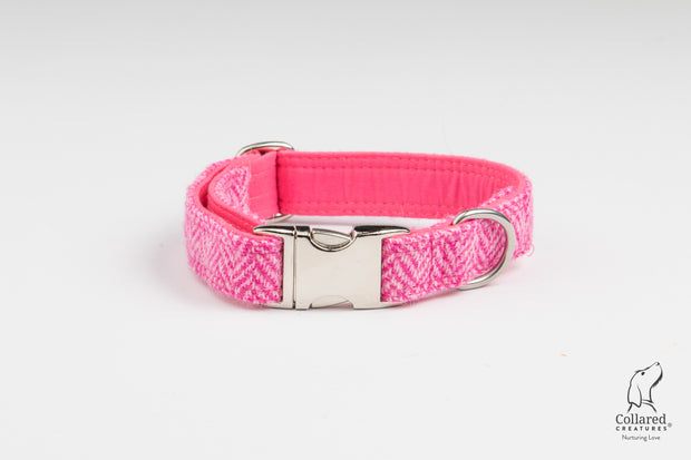 Pink Herringbone Harris Tweed  Dog Collar