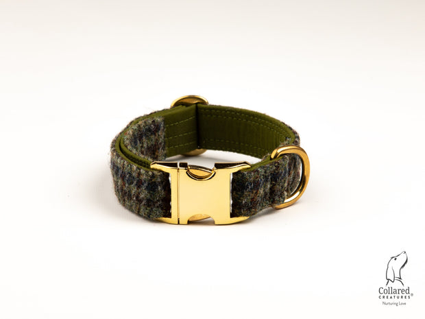 Collared Creatures Autumn Houndstooth Harris Tweed Dog Collar