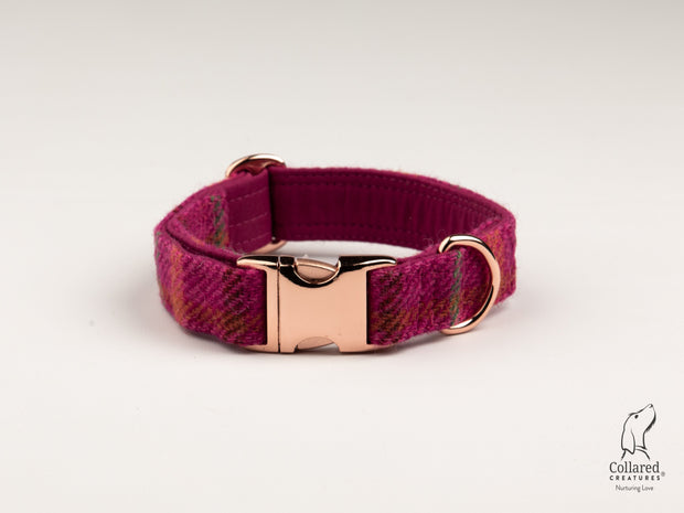 Cerise Check Harris Tweed Dog Collar