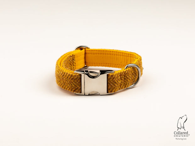 Collared Creatures Sunflower Herringbone Harris Tweed Luxury Dog Collar