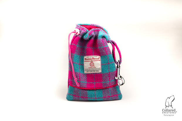 product photo of collared creatures turquoise & pink large check Harris tweed treat bag