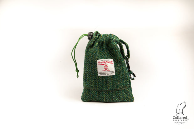 product photo of collared creatures Fern Herringbone Harris tweed treat bag