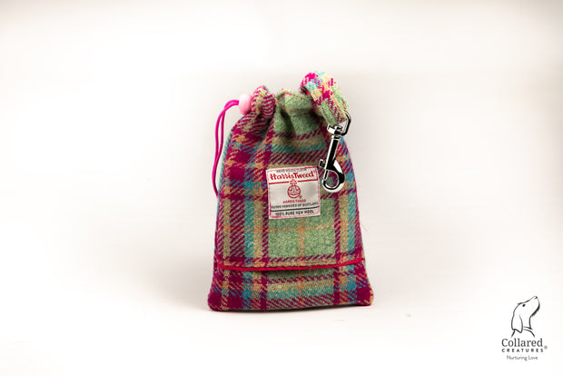 product photo of collared creatures Cerise & Mint Check Harris tweed treat bag