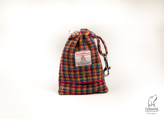 product photo of collared creatures kaleidoscope Check Harris tweed treat bag