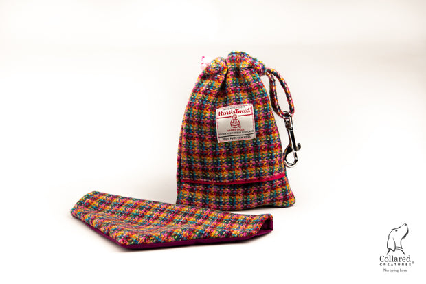 kaleidoscope Check Harris Tweed Treat Bag With Built-In Poop Bag Dispenser
