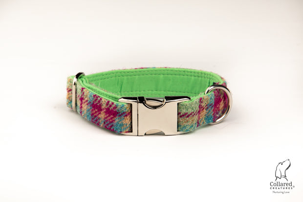 Cerise and Mint Check  Harris Tweed  Dog Collar