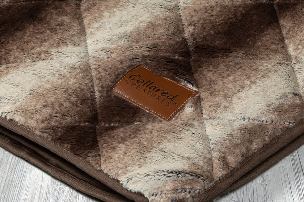 collared Creatures Luxury Dog Blanket -Sofa Throw In Brown Faux Fur displayed on a grey background