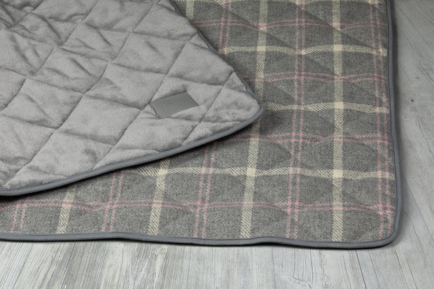 Collared Creatures Luxury Dog Blanket -Sofa Throw in a modern grey check with hints of beige and pink displayed on grey back ground