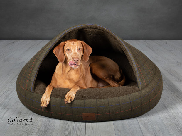 Green Tweed Deluxe Comfort Cocoon Dog Cave Bed - Collared Creatures