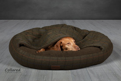Green Tweed Classic Comfort Cocoon (cushion base) - Collared Creatures