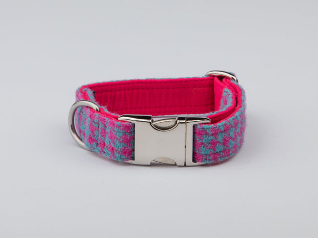 Turqouise And Pink Houndstooth Harris Tweed Luxury Dog Collar - Collared Creatures