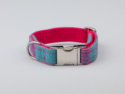 Turqouise And Pink Large Check Harris Tweed Luxury Dog Collar - Collared Creatures