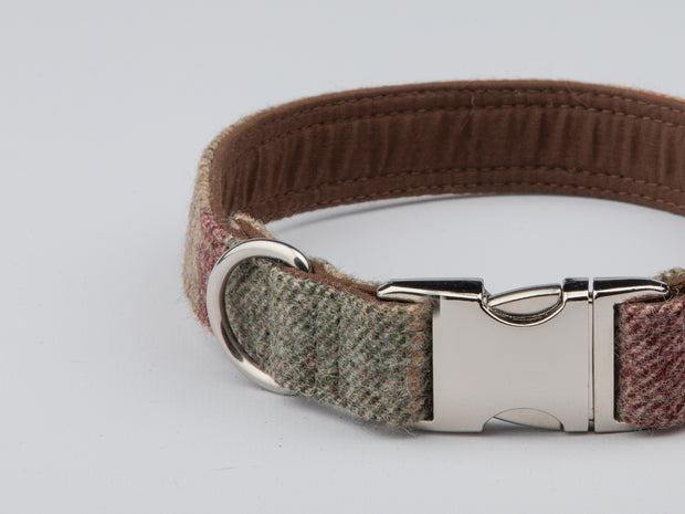 Abraham Moon Malham Green Check Luxury Dog Collar