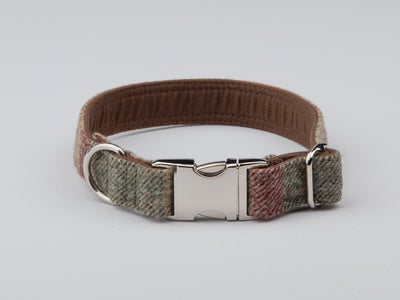 Collared Creatures Abraham Moon Malham Green Check Luxury Dog Collar