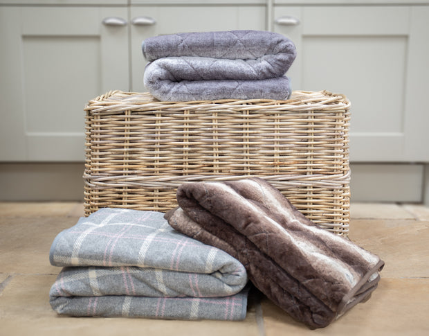 Range of Collared Creatures Luxury dog blanket / sofa throws displayed on a wicker basket