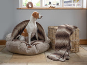 White and Tan beagle sat in a Collared Creatures Beige Luxury Dog Cave Bed