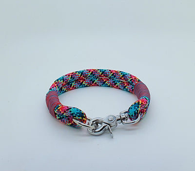 Handmade Rope Dog Collar pink, blue & yelllow with whipping - Collared Creatures