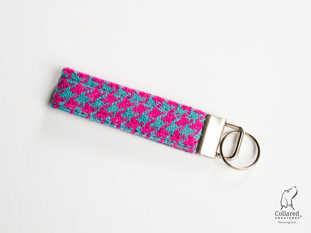 Collared Creatures Pink & Turquoise Houndstooth Luxury Handmade Harris Tweed Keyrings / Key Fobs