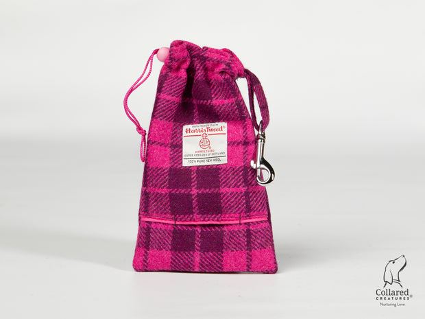 Collared Creatures Purple & Magenta Check Harris Tweed Treat Bag With Built-In Poop Bag Dispenser