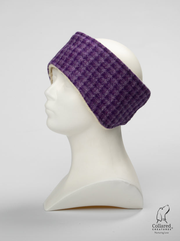 Product photo of Collared Creatures Purple Dream Check Ladies Harris Tweed Headband