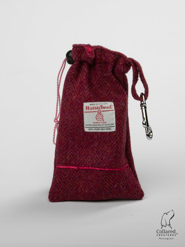 Product shot of Collared Creatures Raspberry Harris Tweed & Coral Treat Bag
