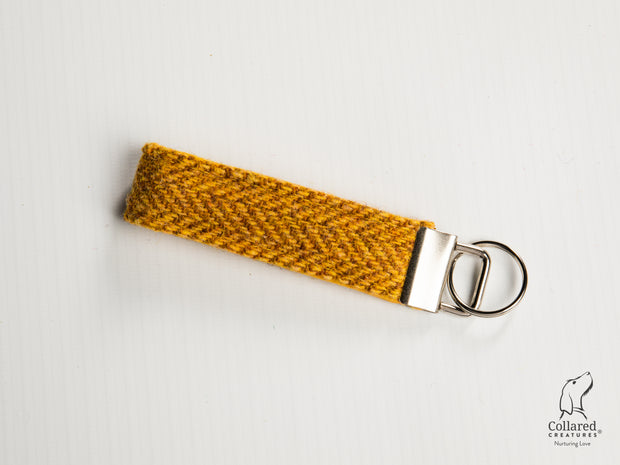 Collared Creatures Sunflower Herringbone Luxury Handmade Harris Tweed Keyrings / Key Fobs