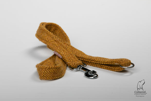 Collared Creatures Sunflower Herringbone Harris Tweed Luxury Dog Lead