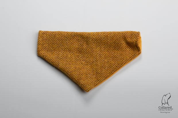 product photo of collared creatures Sunflower herringbone luxury Harris Tweed dog bandana