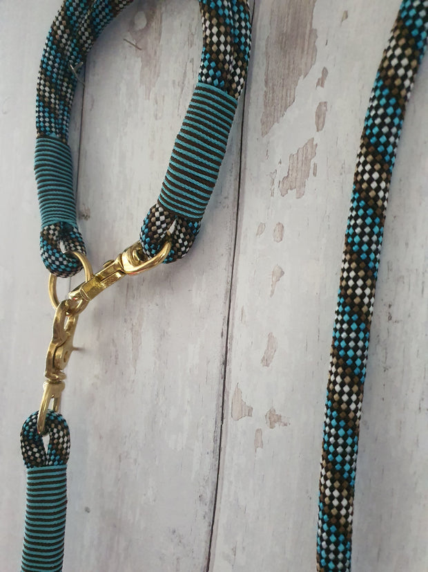 Handmade Rope Dog Collar Brown & Blue with whipping - Collared Creatures