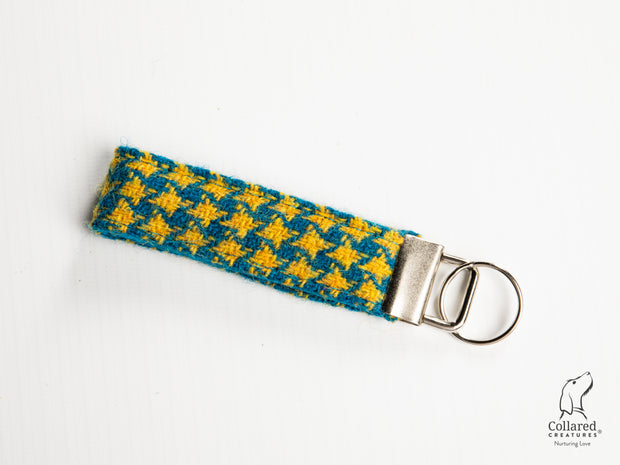 Collared Creatures Teal & Yellow Houndstooth Luxury Handmade Harris Tweed Keyrings / Key Fobs