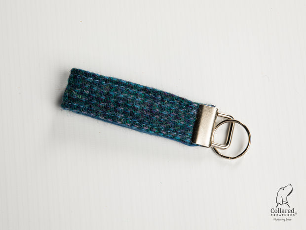 Collared Creatures Teal with a Touch of Blue Harris Tweed Luxury Keyring