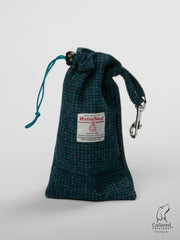 Product photo of collared creatures teal with a touch of blue Harris Tweed treat bag