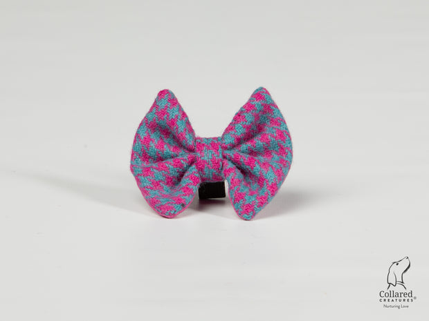 Collared Creatures Turquoise & Pink Houndstooth Luxury Harris Tweed Dog Bow Tie