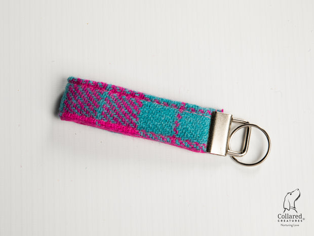 Collared Creatures Turquoise And Pink Large Check Luxury Handmade Harris Tweed Keyrings / Key Fobs