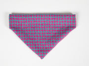 Collared Creatures Turquoise & Pink Houndstooth Harris Tweed Luxury Dog Bandana