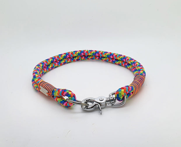 Handmade Rope Dog Collar Rainbow  with whipping - Collared Creatures