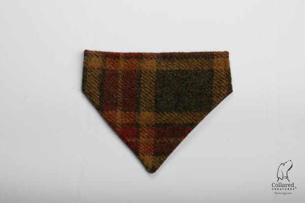 Collared Creatures Autumnal Check Harris Tweed Luxury Dog Bandana