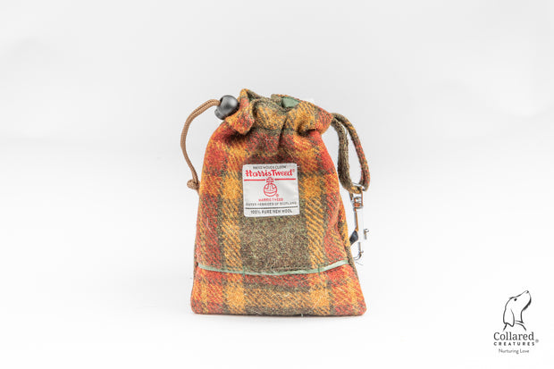 Collared Creatures Autumnal Check Harris Tweed Luxury Dog Treat Bag
