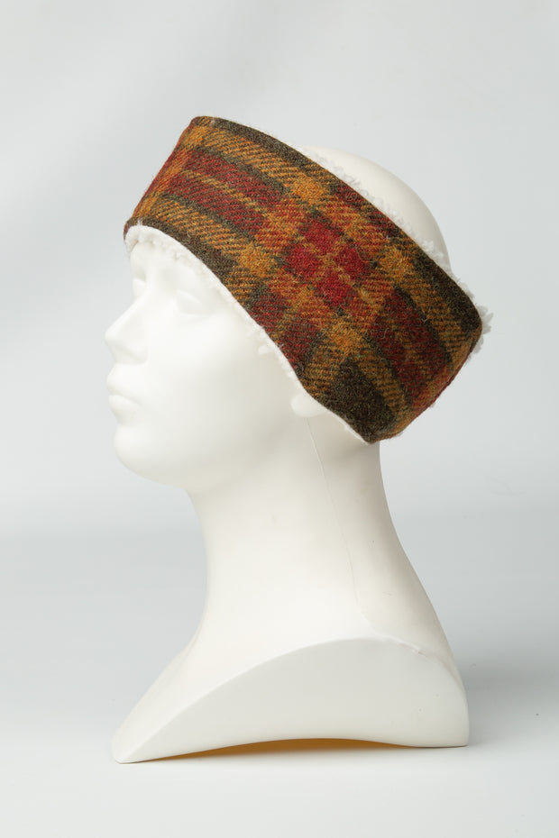 product photo of collared creatures Autumnal Check Harris tweed ladies headband
