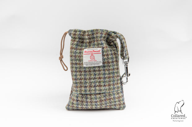 Collared Creatures Autumn Houndstooth Harris Tweed Dog Treat Bag