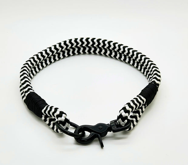 Handmade Rope Dog Collar, black & white with whipping - Collared Creatures