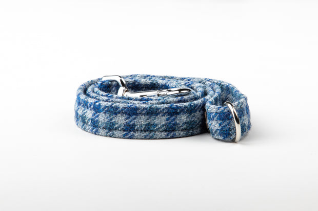 Blue Houndstooth  Check Harris Tweed Dog Collar