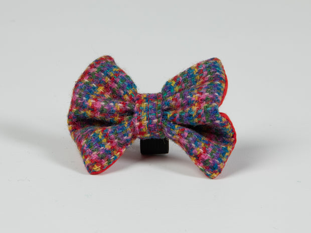 Collared Creatures Blue Kaleidoscope Check Luxury Harris Tweed Dog Bow Tie