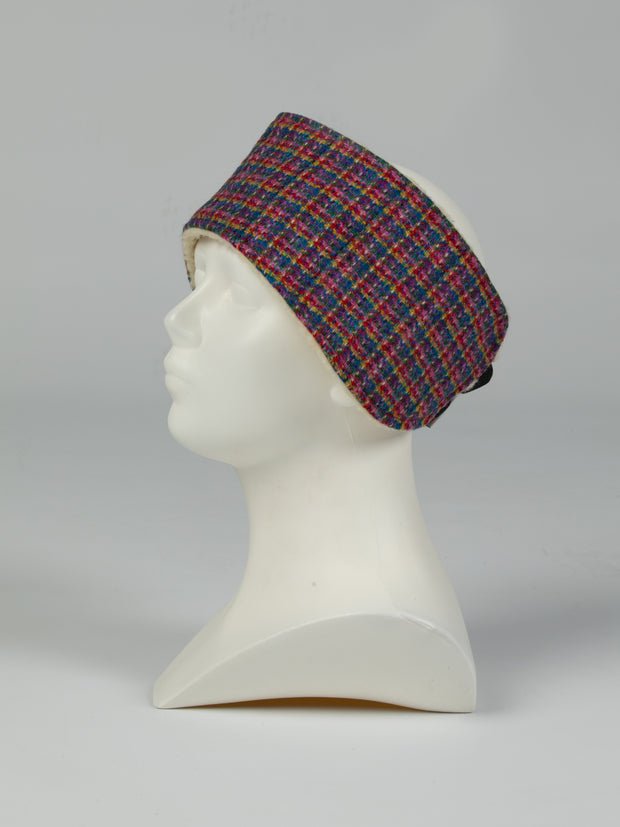 Collared Creatures Blue Kaleidoscope Check Ladies Harris Tweed Headband