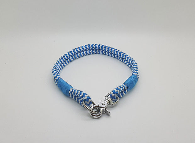 Handmade Rope Dog Collar Blue with whipping - Collared Creatures