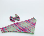 Cerise and Mint Check  Harris Tweed  Dog Collar - Collared Creatures