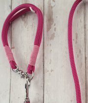 Handmade Rope  collar deep Fuschia with whipping - Collared Creatures