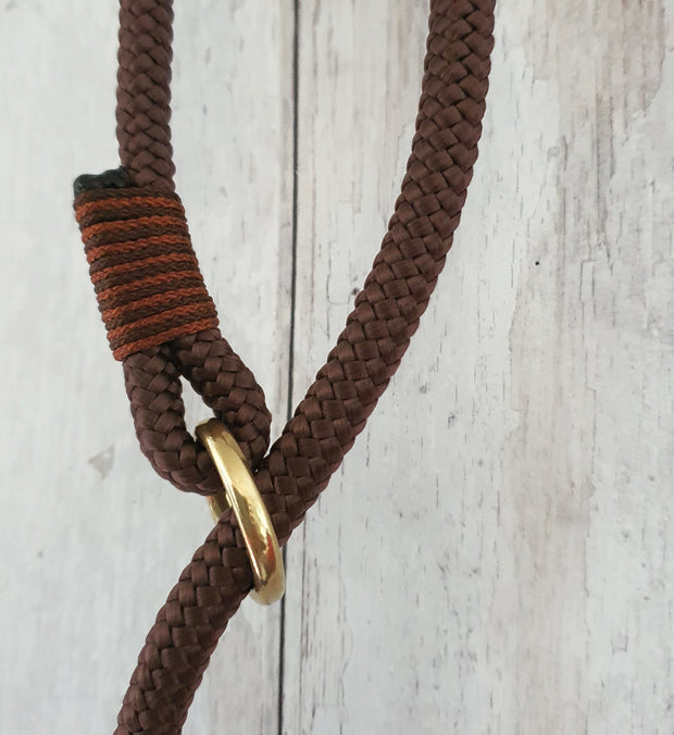 Handmade Rope slip lead Chocolate brown - Collared Creatures
